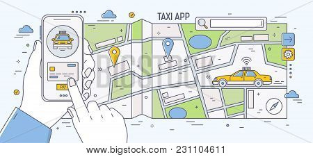Horizontal Banner With Hands Holding Smartphone Against City Street Map And Driving Yellow Taxi Car