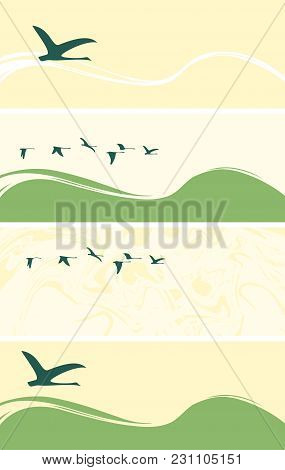 Set Of Vector Banners Or Cards With Silhouettes Of Flying Geese Or Ducks On Abstract Backgrounds Wit