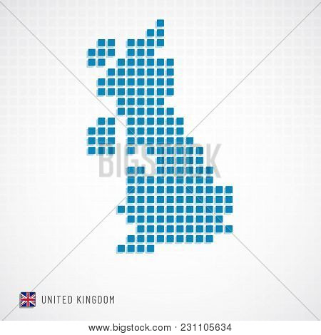 Vector Illustration Of United Kingdom Map From Basic Shape Icons And Flag