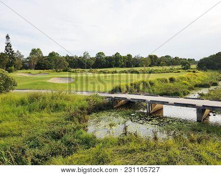 A Small Lake Between The Golf Fields, Queensland, Australia