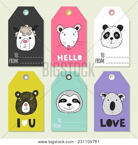 Christmas Set Of Gift Labels And Tags With Illustrations Of Cute Animal Face.