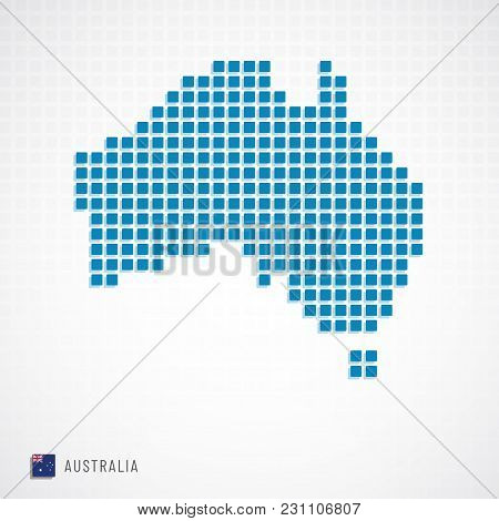 Vector Illustration Of Australia Map From Basic Shape Icons And Flag