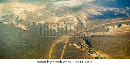Types Of Desert Lands  From The Height Of An Airplane.