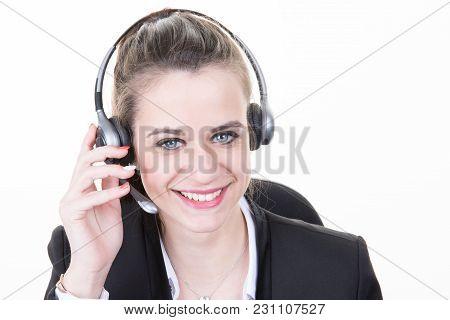 Beautiful Girl Smiling Teleoperator With Headset On Head