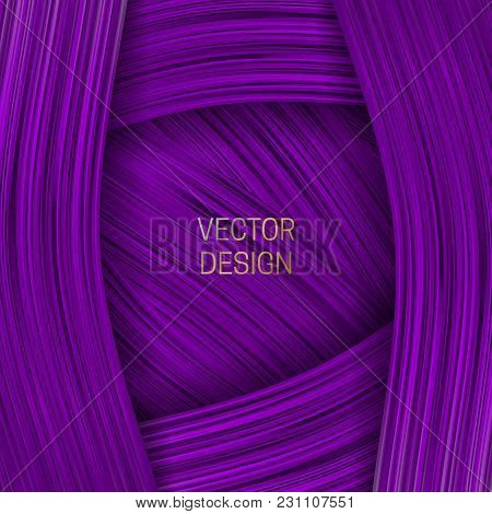 Volumetric Frame On Saturated Purple Background. Trendy Packaging Design Or Cover Template.