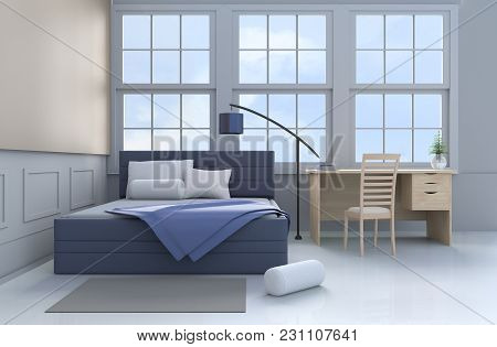 Bed Room Decor With Tree In Glass Vase, Pillows, Blanket, Window, Sky, Lamp,desk,book,blue Bed, Bols