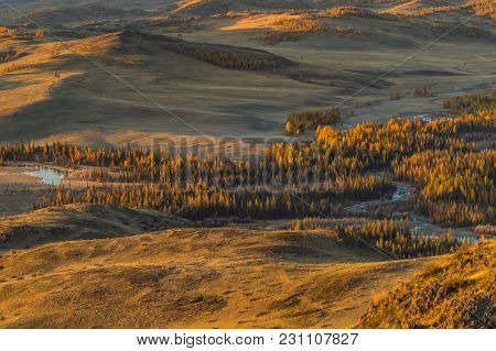 The Landscape Of Altai Mountains , In Autumn, Siberia, Russia.