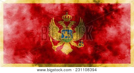 Old Montenegro Grunge Background Flag