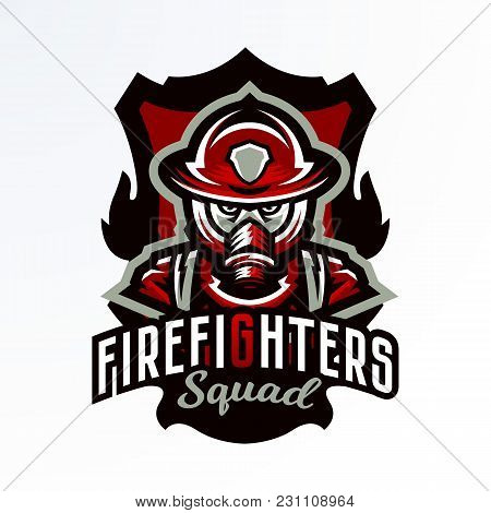Colorful Emblem, Sticker, Badge, Logotype Of A Firefighter In A Gas Mask. Rescue Unit, Protective Eq