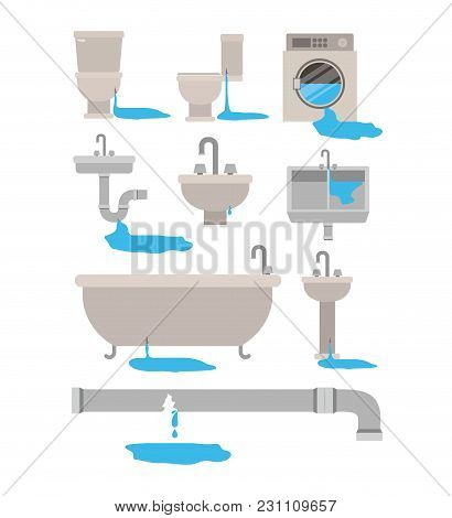 Colorful Set Of Bathroom Interior Objects With Dripping Pipes Vector Illustration