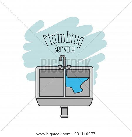Scene Of Dishwasher With Dripping Pipes Flooded Plumbing Service Vector Illustration