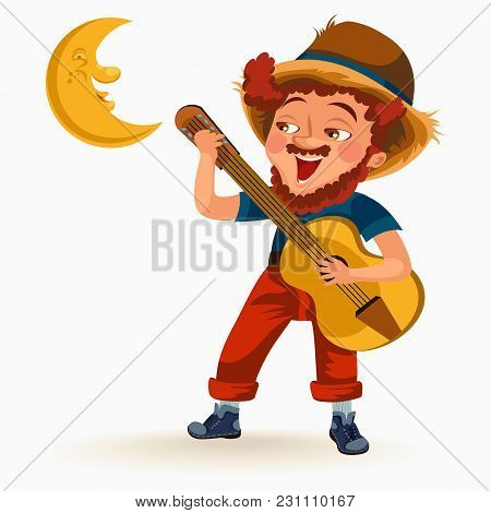 Man With Mustache Plays Guitar Near Fire Under Moon Vector Illustration, Boy Singing Son At Bonfire