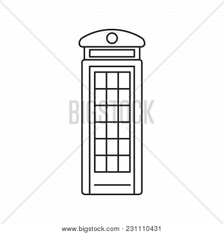 London Phone Box Icon. Outline London Phone Box Vector Icon For Web Design Isolated On White Backgro