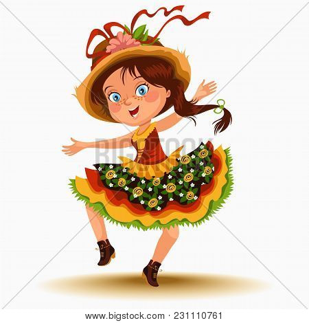 Young Woman Dancing Salsa On Festivals Celebrated In Portugal Festa De Sao Joao, Girl In Straw Hat T