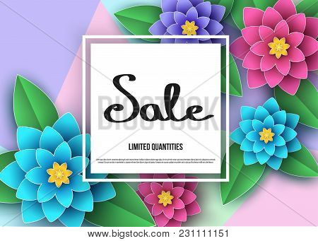 Spring Or Summer  Season  Discount  Banner With Beautiful  Flowers.