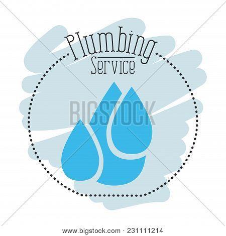 Sticker Scene Of Set Drop Water Plumbing Service Vector Illustration