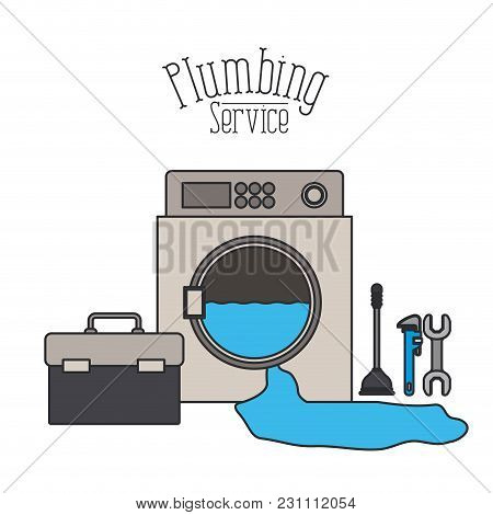 Color Poster Of Washing Machine Dripping Plumbing Service Vector Illustration