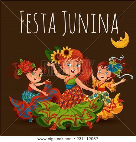 Young Woman Dancing Salsa On Festivals Celebrated In Brazil Festa Junina, Girl Wear Flower In Head T