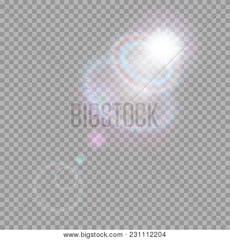 Bright Light Effect With Multi-colored Highlights. Iridescent Flare From The Lens On A Transparent B
