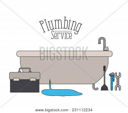 Color Poster Of Bath Dripping Flooded Plumbing Service Vector Illustration