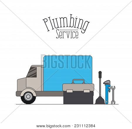Color Poster Of Vehicle Car Plumbing Service Vector Illustration