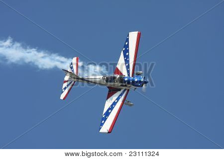 Red, White And Blue Stunt Plane
