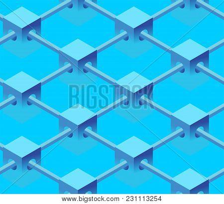 Blockchain Background. Backdrop For Presentations. Block Chain Technology Seamless Pattern. Internet