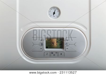 White Gas Boiler Panel With Manometer. Close Up.