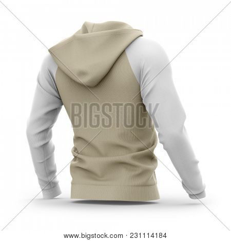 Men's hooded zip-up hoodie. Sweatshirt with pockets. Half-back view. 3d rendering. Clipping paths included: whole object, hood, sleeves. Isolated on white background.