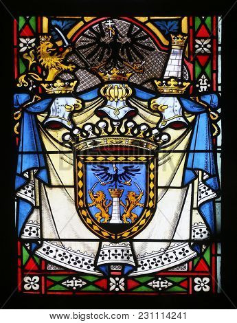 ZAGREB, CROATIA - APRIL 07: Coat of Arms of Ban Ladislav Pejacevic, stained glass in Zagreb cathedral dedicated to the Assumption of Mary in Zagreb on April 07, 2015