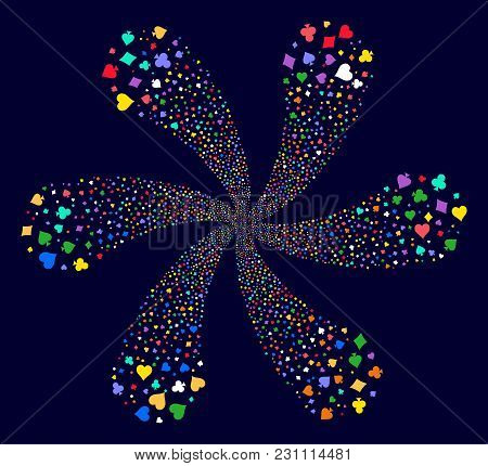 Psychedelic Playing Card Suits Rotation Twist On A Dark Background. Vector Abstraction. Hypnotic Flo