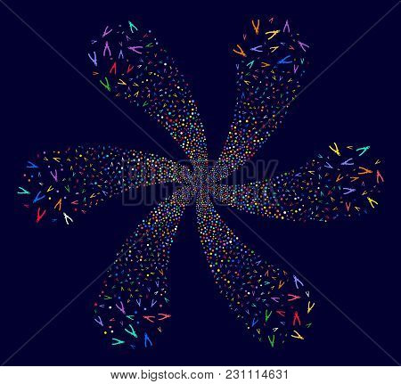 Multi Colored Pliers Rotation Flower Cluster On A Dark Background. Vector Abstraction. Psychedelic C