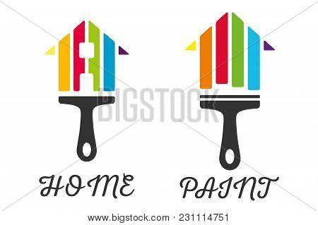 Home Decor Paint Brush Logo Company Icon
