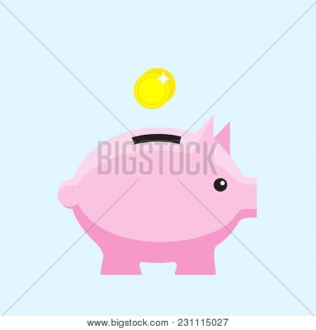 Money Box Flat Icon. Pig Piggy Bank With Coin. Money Savings, Save Money, Budget, Finance Symbol. In