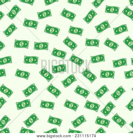 Seamless Pattern Of The Banknote Cash Money Dollar Vector Seamless Background Green Money Symbol Of