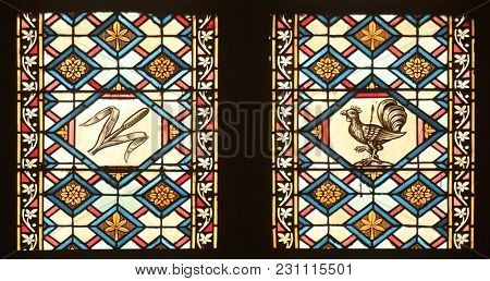 ZAGREB, CROATIA - APRIL 07: Stained glass with scenes the Passion of Jesus in Zagreb cathedral dedicated to the Assumption of Mary in Zagreb on April 07, 2015