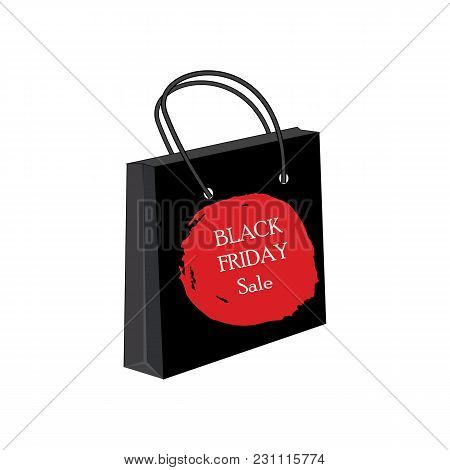 Paper Bag For Shopping Watercolor Round Red Brush Stroke Black Friday Sale Inscription Vector