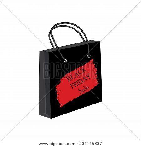 Paper Shopping Bag Red Watercolor Brush Stroke Black Friday Sale Inscription Vector