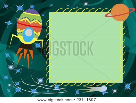 Easter Card Template With Frame And Rabbit, Vector