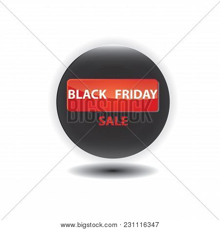 Icon Glass Round Black Friday Sale Isolated On A White Background Element For Design Vector