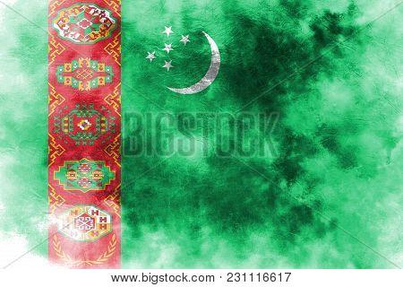 Old Turkmenistan Grunge Background Flag, Old Flag