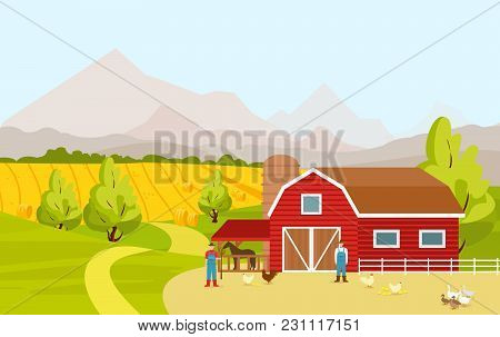 Vector Illustration Of Mountain Countryside Landscape With Red Farm Barn, Fields, People And Farm An