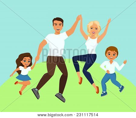 Vector Illustration Of Joyful Family Jumping. Happy And Smiling Dad Mom Daughter And Son Holding Han
