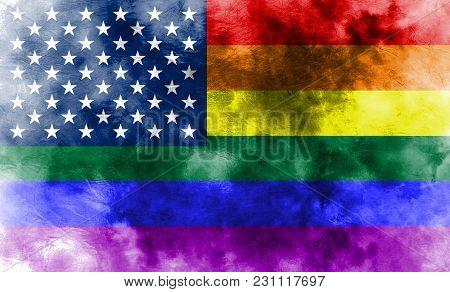 Usa Gay Grunge Flag, Lgbt Usa Flag