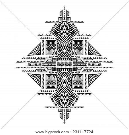 Creative Ethnic Style Print. Unique Geometric Vector Illustration. Perfect For T-shirt Design. Trend