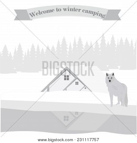 White Wolf Winter Landscape House Wood River Art Creative Abstract Modern Vector Illustration Travel