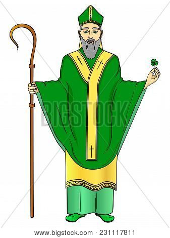 Pop Art Patron Saint Of Ireland. Saint Patrick Holding A Trefoil And Crosier Staff With Greeting Rib