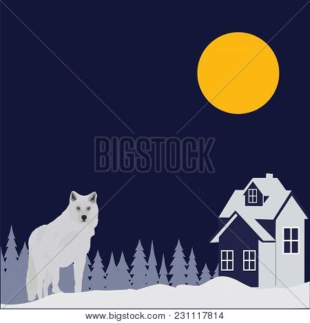 White Wolf Night Winter Forest Landscape House Moon Abstract Art Creative Modern Vector Illustration
