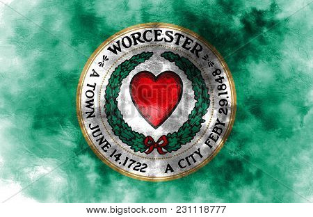 Worcester City Smoke Flag, Massachusetts State, United States Of America