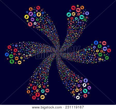 Attractive Rounded Arrow Twirl Flower Shape On A Dark Background. Vector Abstraction. Hypnotic Centr